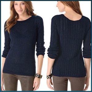 Rachel Zoe Karla Navy Blue Open Knit Sweater